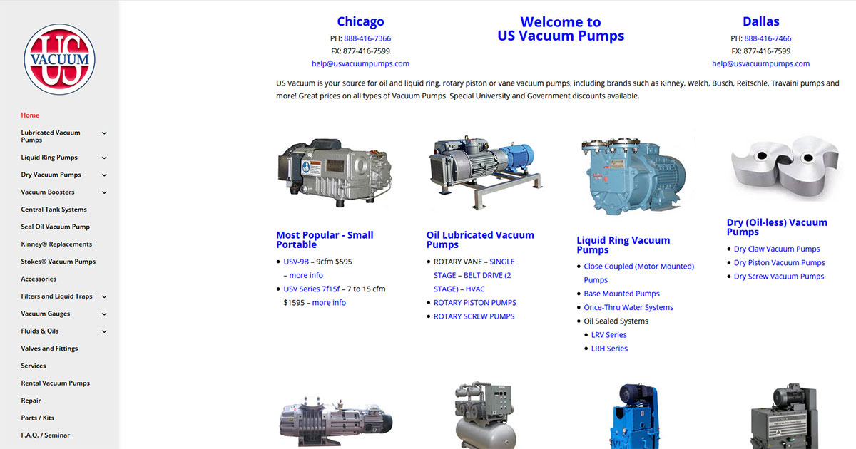 US Vacuum Pumps - Chicago and Dallas