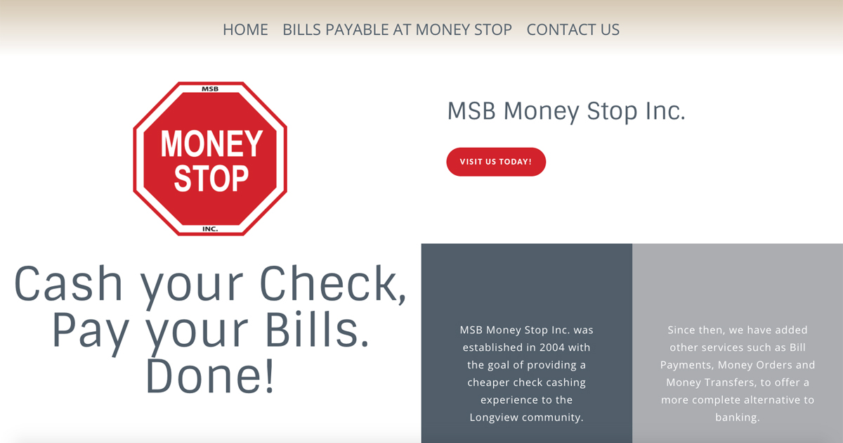 MSB Money Stop Inc. - Longview, TX